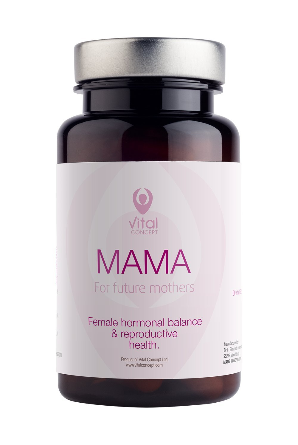 Vital Concept Mama - for Women who Want Children. Future Mothers Fertility Aid with 400 mcg Folic Acid, Coenzyme Q10. Get Pregnant Support, Female Multi Vitamins Complex. 60 Capsules, 60 Days Supply