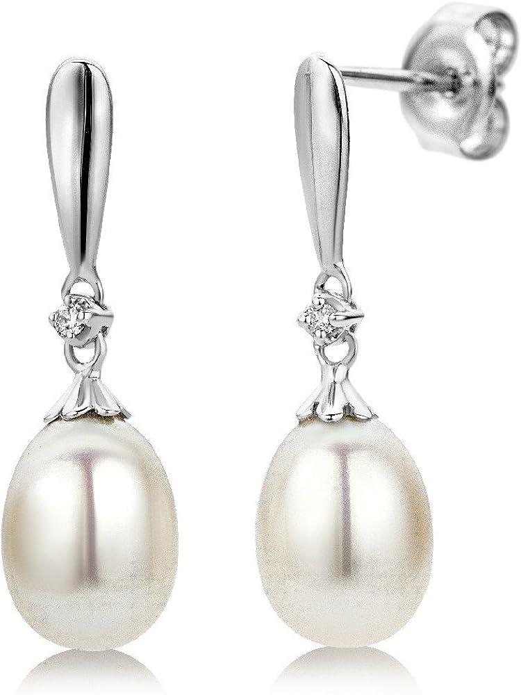 Miore Pendientes de Oro Blanco de 9K con Diamantes y Perlas en Forma de Gota para Mujer