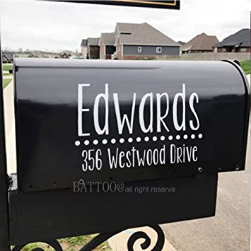 2 decals Personalized Customized Name Address Mailbox Vinyl Decal Sticker