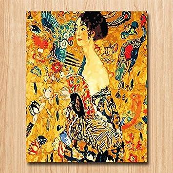 Superluckty Gustav Klimt Frau mit Fan DIY Digital Painting ...