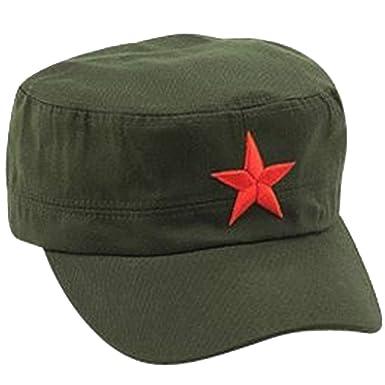 Ogquaton Gorra clásica del ejército con pentagrama cadete sombrero militar tapa plana moda retro gorra verde del ejército 1 piezas: Amazon.es: Ropa y ...