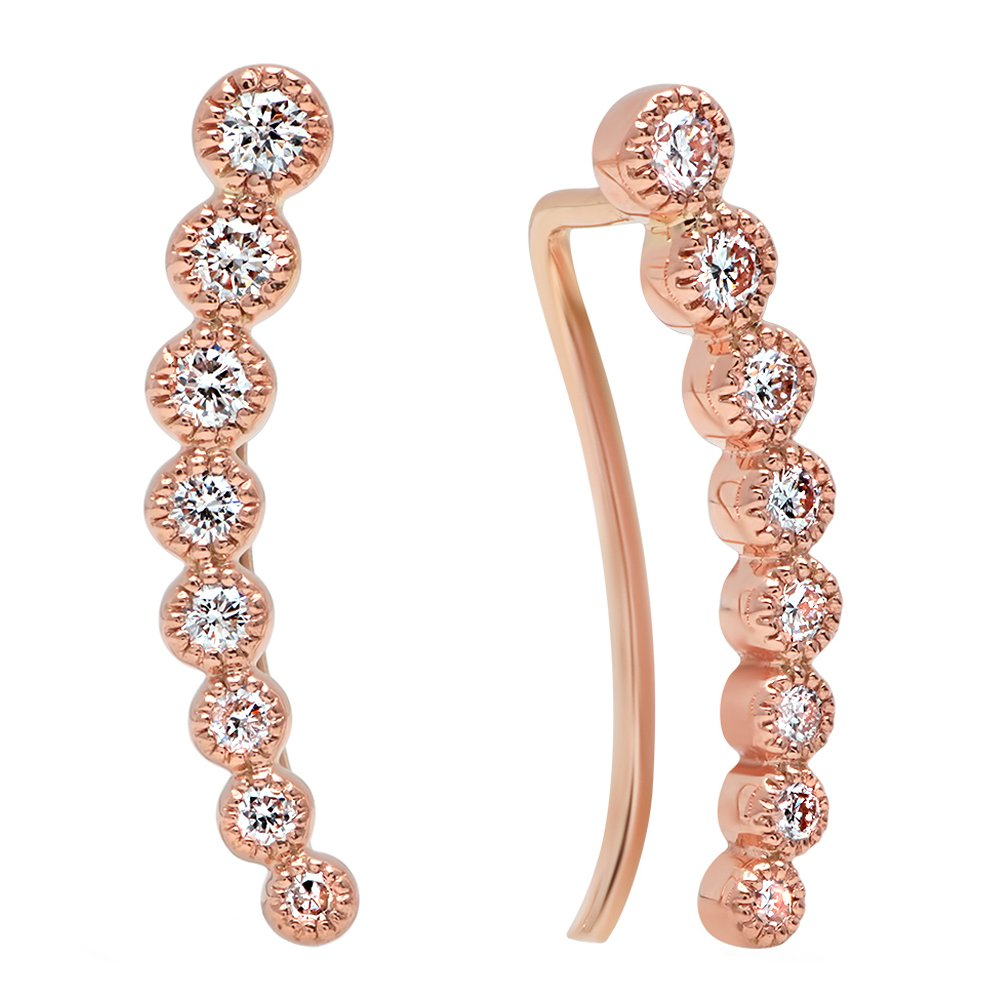 0.40 Carat (ctw) 14K Rose Gold Round White Diamond Ladies Journey Curved Climber Earrings