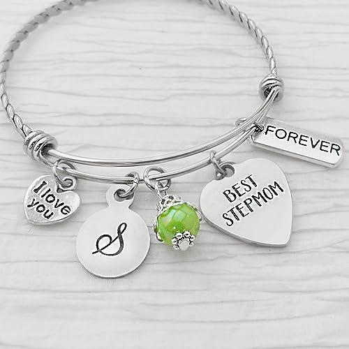Stepmother Gifts Personalized Stepmom Bangle Bracelet Best I Love You