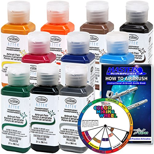 10 Color - Testors Aztek Premium Transparent Acrylic Airbrush Paint Set with Color Mixing Wheel and How to Airbrush Manual (Airbrush Testors Kits)