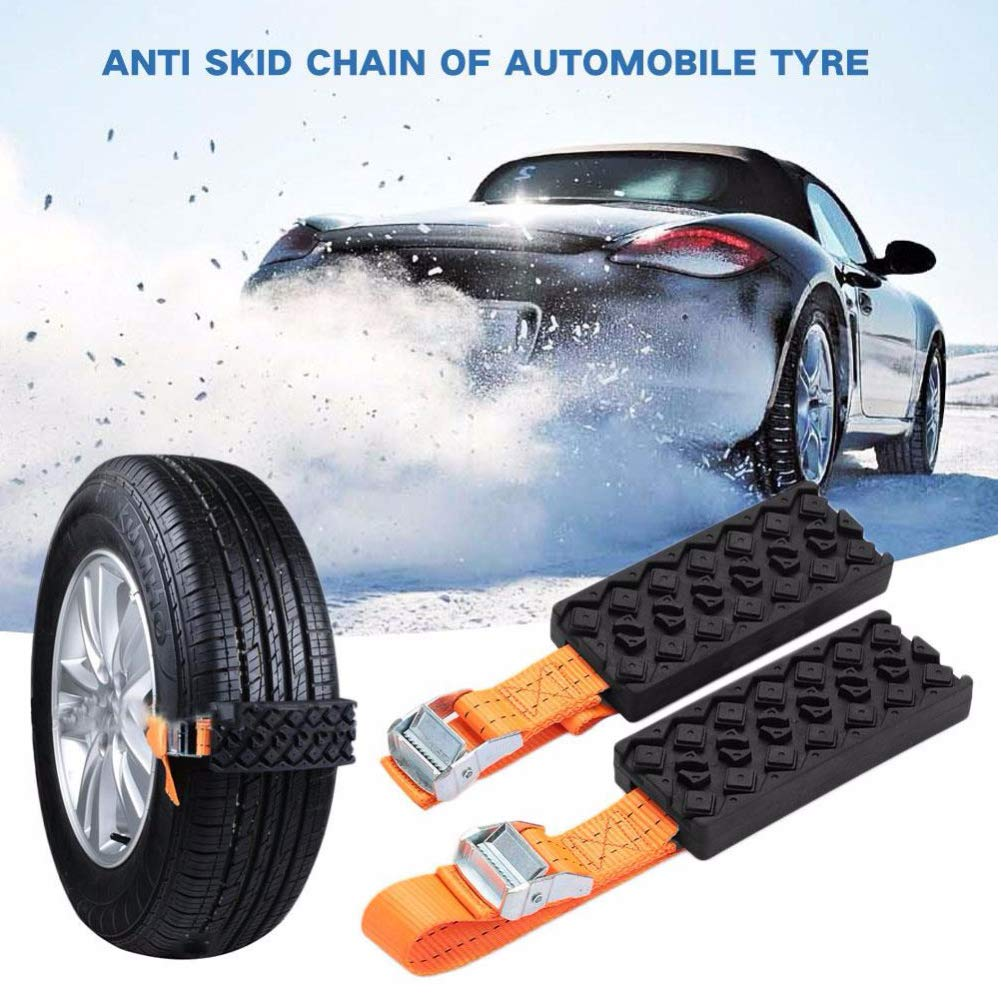 EIGIIS Auto Snow Mud Tire Straps Traction Anti Skid Emergency Tire Straps