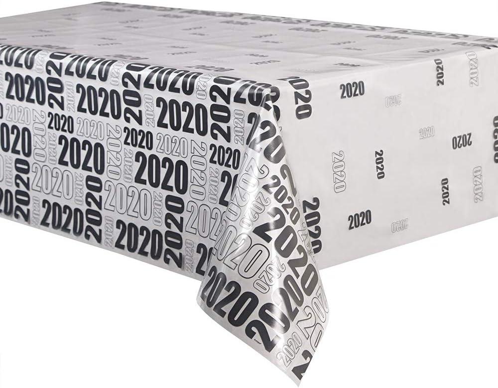 Unique Party - Mantel de Plástico Transparente 2020 - 2,13 m x 1,37 m (63666)