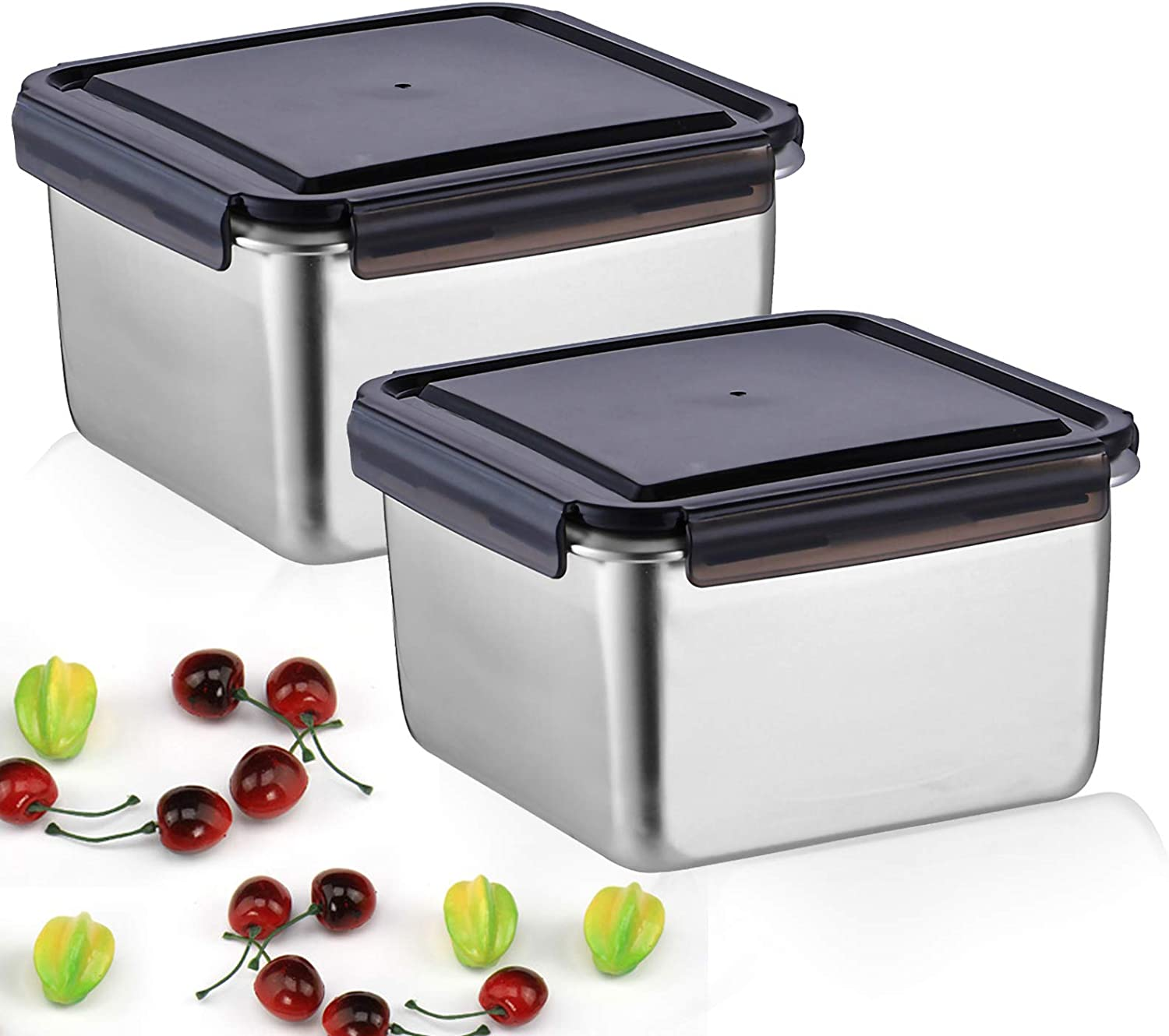 MANO Stainless Steel Large Food Storage Container,Set of 2,Airtight Reusable Containers Bento lunch box with Leak-proof Lids for Fruit, Salad, Snacks, Kimchi,Outdoor Picnic,Camping