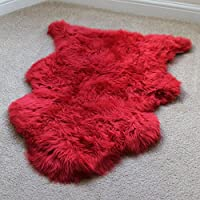 A-STAR(TM)) Sheepskin Rug Single - Sheepskin Fur 2 x 3 (Red)