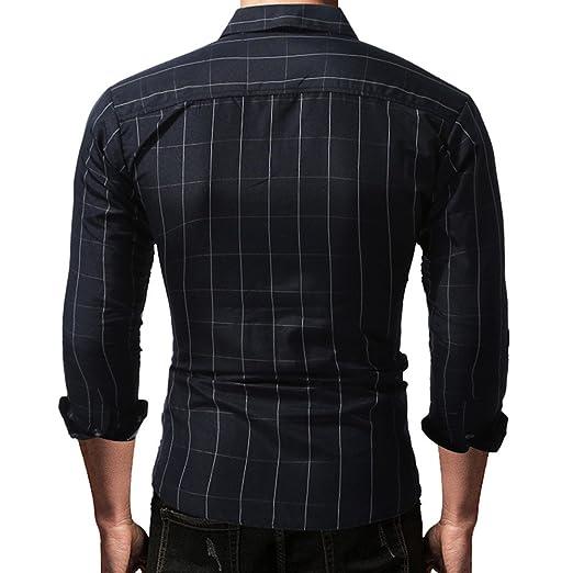 Camisas de Hombre/Manga Larga/Blancas/Slimfit/Cuadros/Estampadas Otoño Tartán Collar del Soporte Botón Sudaderas Blusa Superior: Amazon.es: Ropa y ...