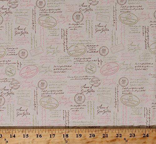 Cotton Anne of Green Gables Book Quotes Words Script Italic Letters Sayings Phrases Postage Montgomery Author Cotton Fabric Print by The Yard (C5864)