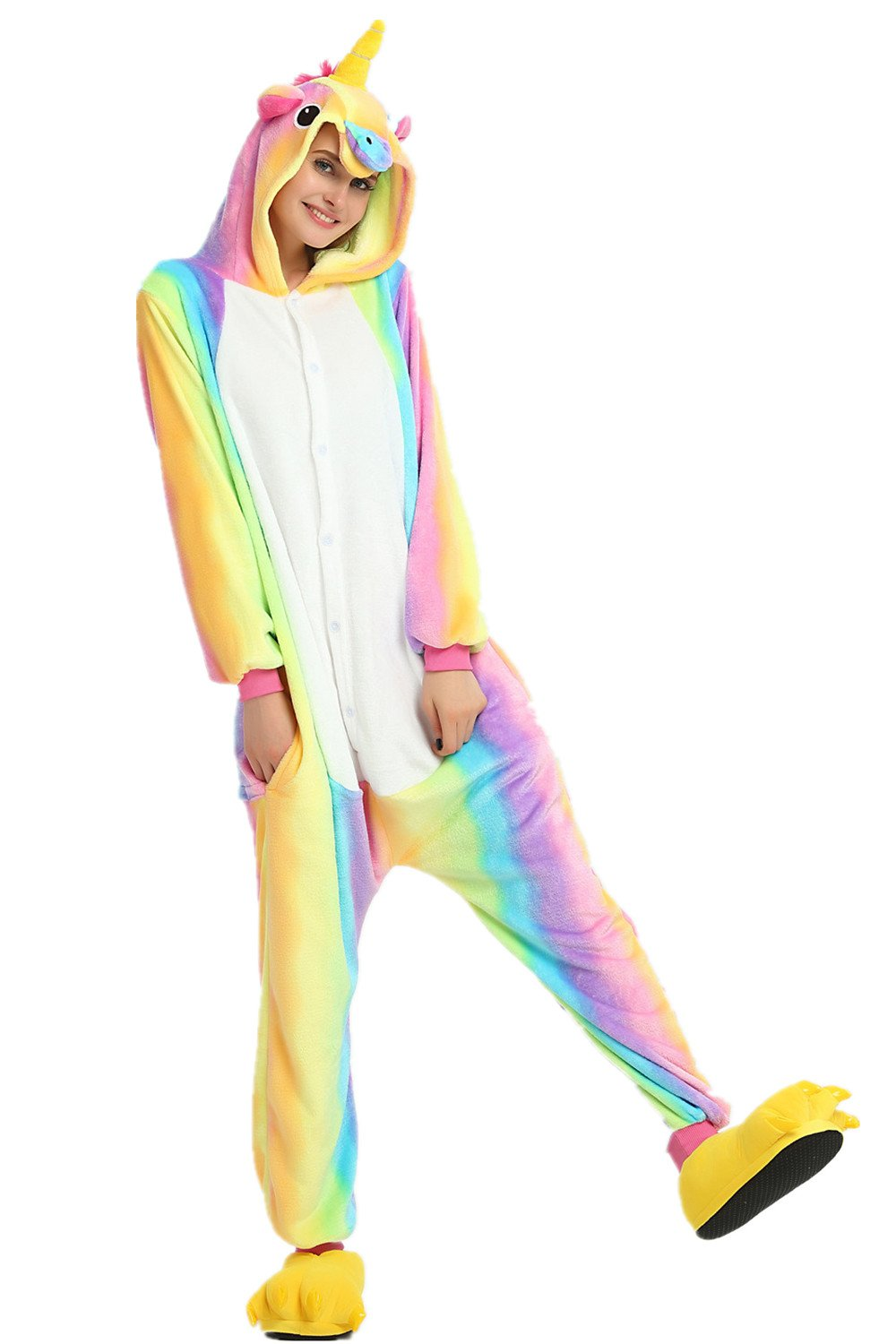 Missley Unicorn Pajamas Halloween Jumpsuits Adult Unicorn Animal Cosplay Costume