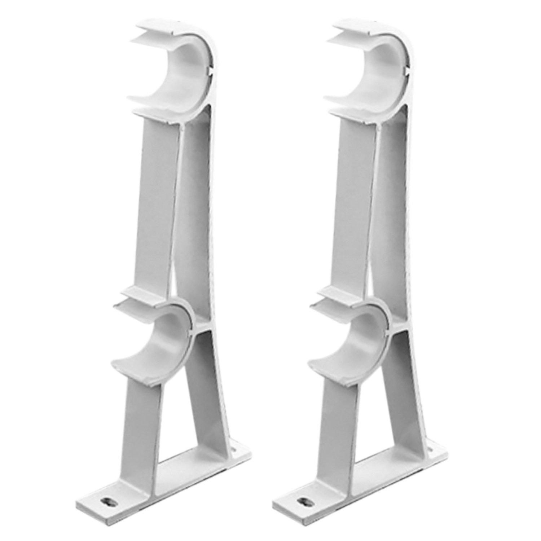 Kangkang@ White 2 PCS Curtain Rod Drapery Poles Double Aluminum Alloy Curtain Bracket Holder Accessories