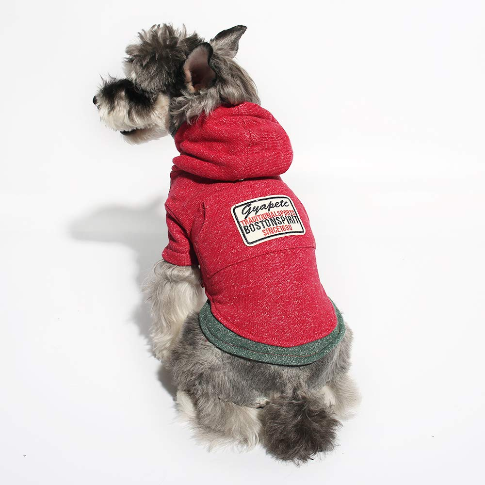 Red M Red M Gyapet Pet Sweater Hoodie for Small Dogs Pet Clothing Puppies Doggie T-Shirt Winter Warm Cotton Cloth for Puppy Red M