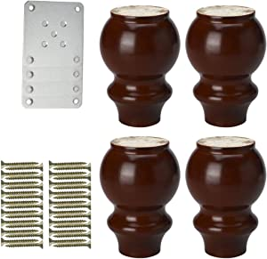 uxcell 5 Inch Solid Wood Furniture Legs Sofa Couch Chair Table Desk Closet Cabinet Feet Replacement Adjuster Set of 4