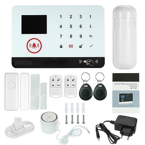 OWSOO 433MHz Sistema de Alarma GSM SMS Pantalla LCD Control Remoto de Phone APP Alarma de Marcación Automática con Sensor de Puerta Sensor de Movimiento Control Remoto Tarjeta RFID Sirena Cableada