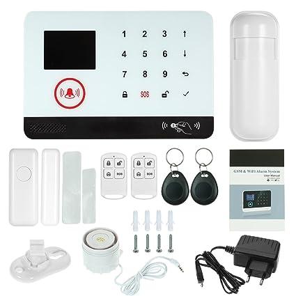 OWSOO Sistema de Alarma gsm 433MHz Inalámbrico WiFi + gsm SMS Sistema de Seguridad de Marcación