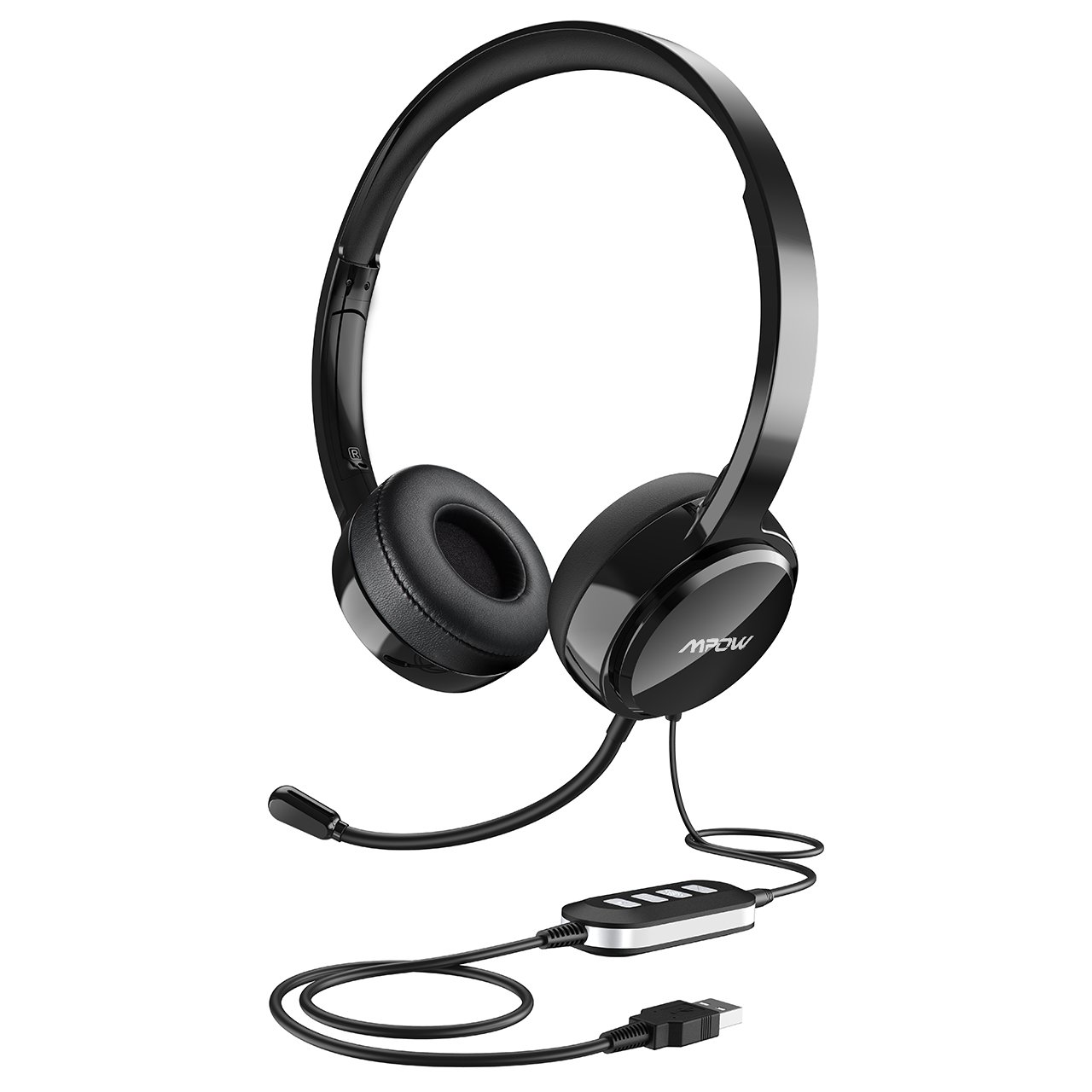 Mpow USB Headset (All-Platform Edition) with 3.5mm Jack, Stereo Computer Headset with Microphone Noise-Canceling, Skype Headphones w/Comfort-fit Earpad, Inline Volume Control for PC/Laptop/Cell Phone by Mpow