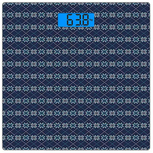 Precision Digital Body Weight Scale Nordic Ultra Slim Tempered Glass Bathroom Scale Accurate Weight Measurements,Festive Winter Holiday Fair Isle Pattern Digital Print Snowflakes,Navy Blue Pale Blue - Fair Isle Pattern Snowflake