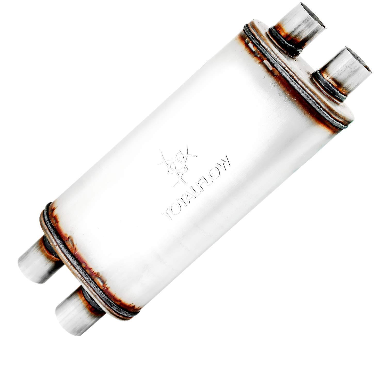 TOTALFLOW 42244 Straight Through Deep Tone Performance Muffler 18 Body Length 2 CenterReversible//Bi-Directional 24 OAL Oval 5 x 8-2 Center