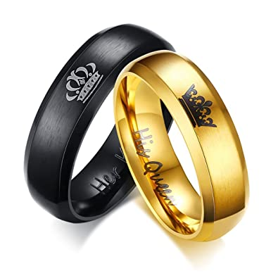 Keybella Her King//His Queen Ring Black Stainless Steel Wedding Bands Engagement Promise Rings