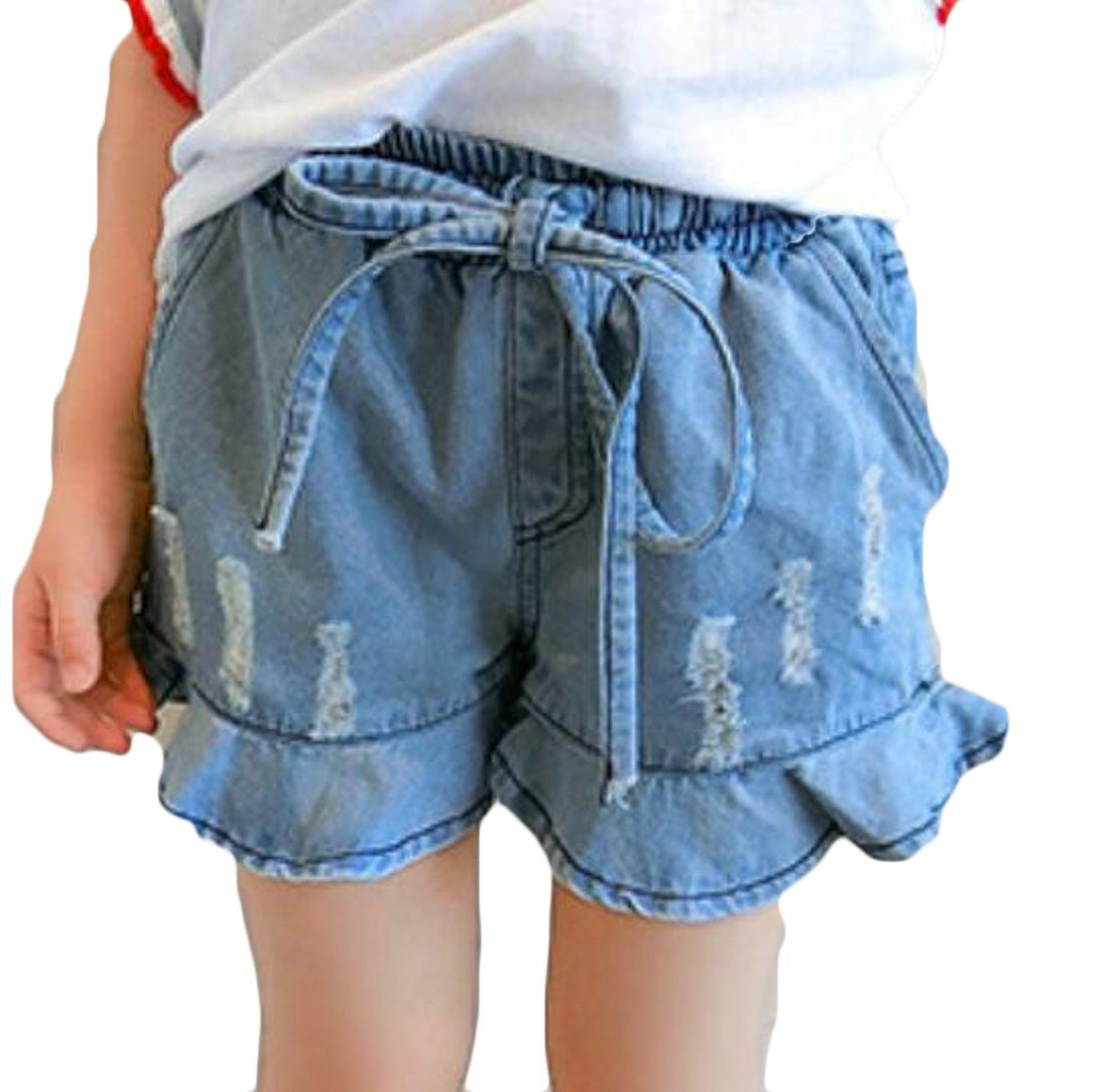 Cromoncent Girl' Classic Fit Faded Pull On Ripped Comfortable Hot Denim Shorts Denim Blue 3T by Cromoncent