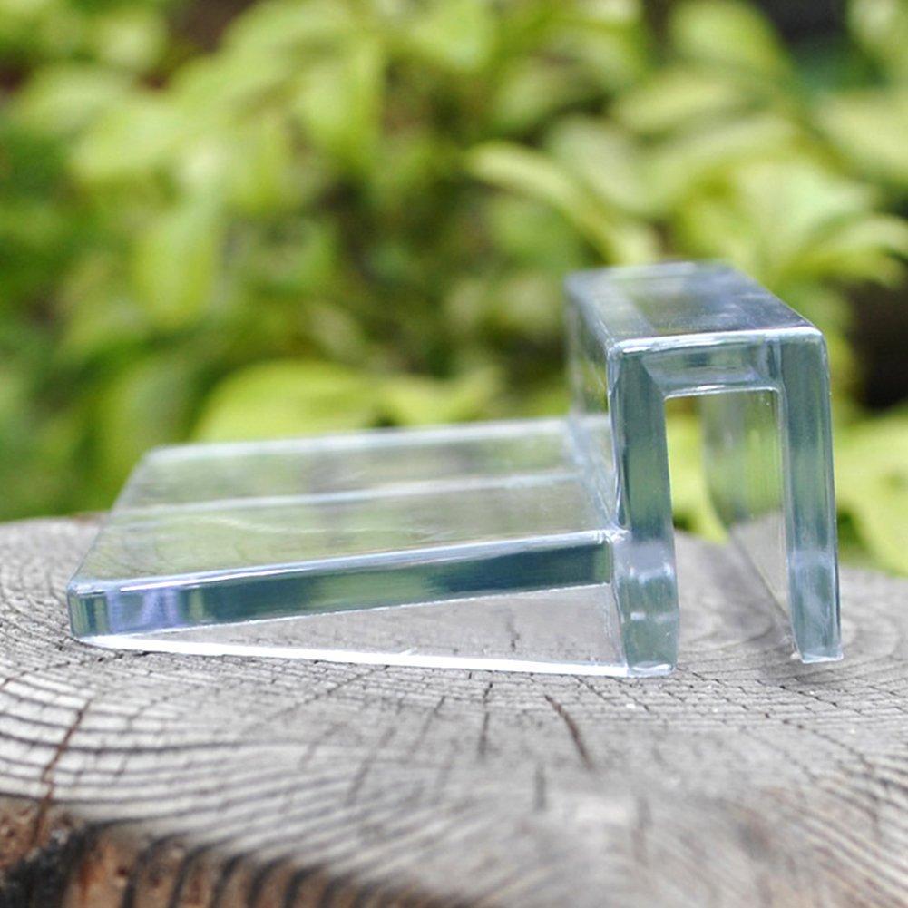 SUPEWOLD 4 Aquarium Glas Klar Halterung Aquarium Tank Kunststoff Clips Fisch Tank Glasabdeckung Clip (4 Grö ß e zu wä hlen)
