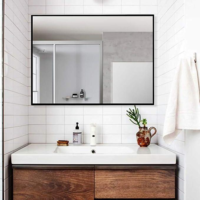 LINSGROUP Large Modern Wall-MountedFrame Mirror Rectangle Hangs Horizontal or Vertical for Bedroom/Bathroom/Living Room (32