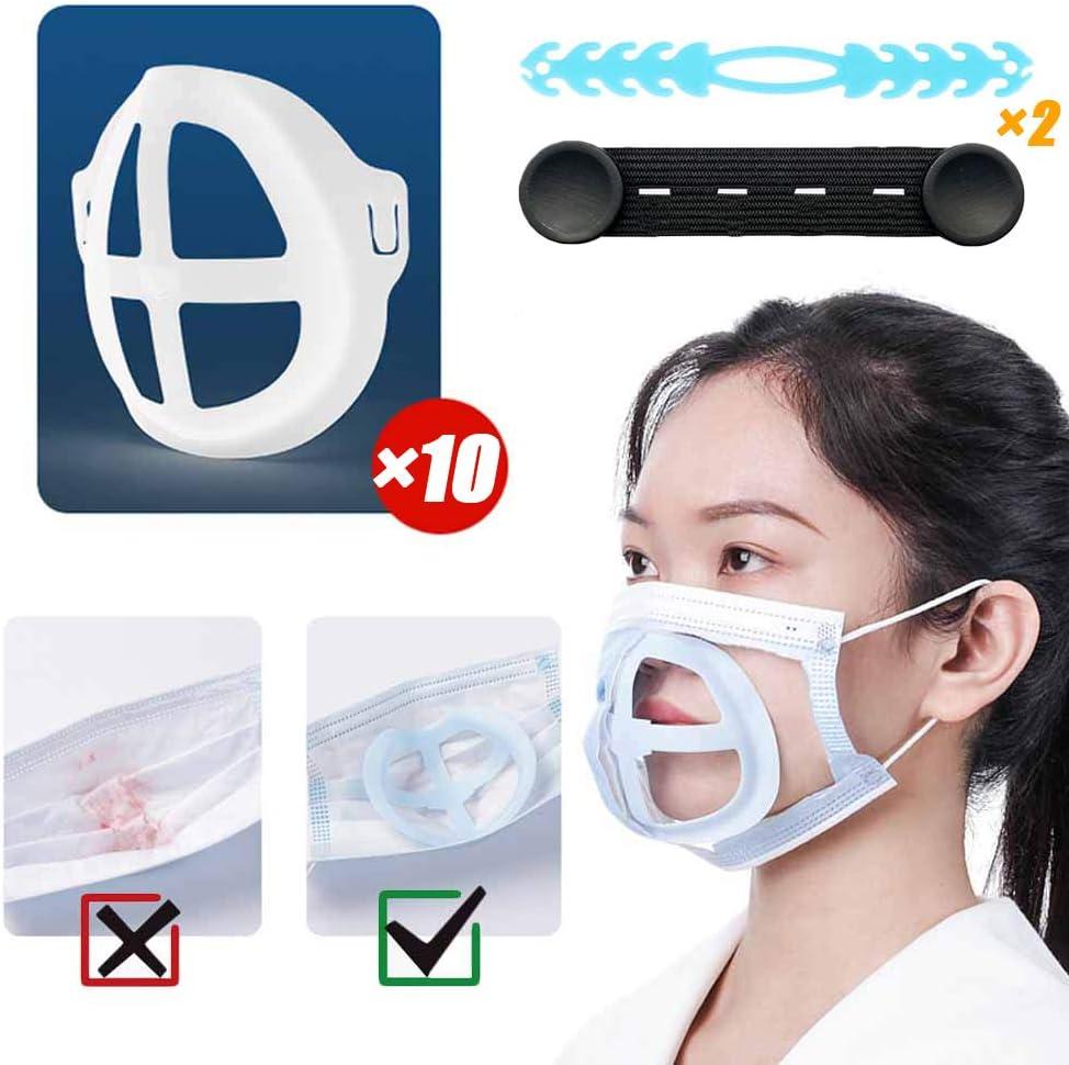 Marco de soporte interno de 10PCS para máscara, soporte de cojín interno 3D para protección de lápiz labial, almohadilla nasal Aumente la distancia entre la boca y la nariz(10 Marcos + 2 Ganchos)