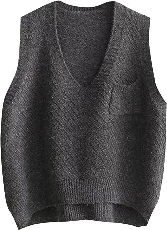 SERAPHY Women Knitted Gilets Sweaters Cosplay Costume Classic School Sleeveless Tank Vests Cute V-Neck School Uniform Knitwear Jumpers