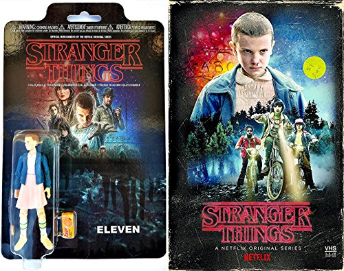 Stranger Things Exclusive VHS Set Season 1 DVD Blu-Ray Box Edition + Eleven Retro Action Figure with Eggo waffle accessory - Special 2-pack Bundle