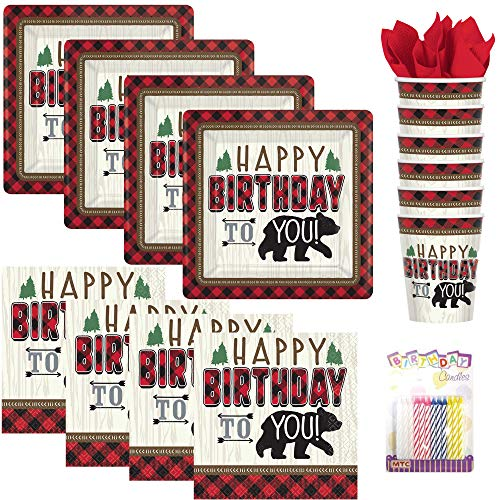 Little Lumberjack Birthday Party Supplies Pack Serves 16: Dessert Plates, Beverage Napkins, Cups, and Birthday Candles ()