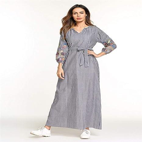Cvbndfe Cómodo Vestido musulmán de Rayas de Manga Larga para Mujer Túnicas de Oriente Medio Túnicas árabes Elegante (tamaño : XXL): Amazon.es: Hogar