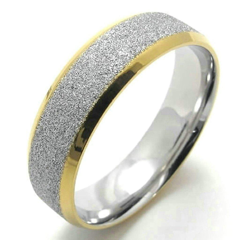 Daesar Stainless Steel Rings Mens Wedding Bands for Men Matter Rings 6MM Size:8