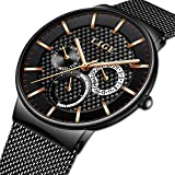 Watches for Men,LIGE Stainless Steel Waterproof Sports Analog Quartz Watch Date Display Black Dial Gents Business Casual Luxury Dress Wrist Watch with Milanese Mesh Band Gold Black