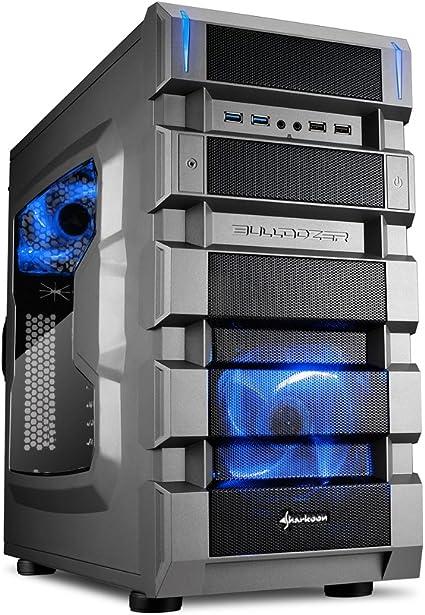 Sharkoon BD28 Midi-Tower Negro, Metálico Carcasa de Ordenador - Caja de Ordenador (Midi-Tower, PC, Acrílico, ATX, Negro, Metálico, Azul): Amazon.es: Informática