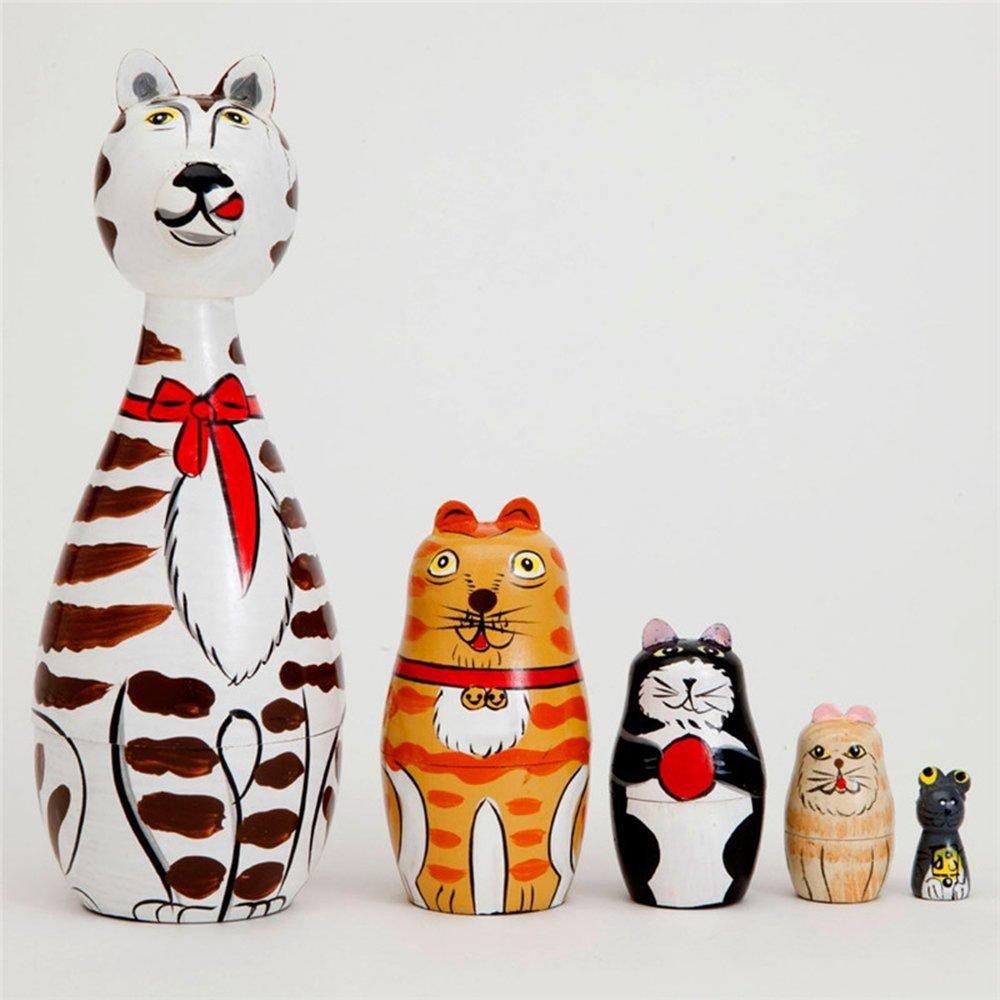 ZOE 5 Pz Handmade Cleo & Friends Matryoshka Nidificazione Gatti Dipinti Giocattoli Di Legno Nesting Dolls Legno Russo Handmade Craft Bambini Regalo