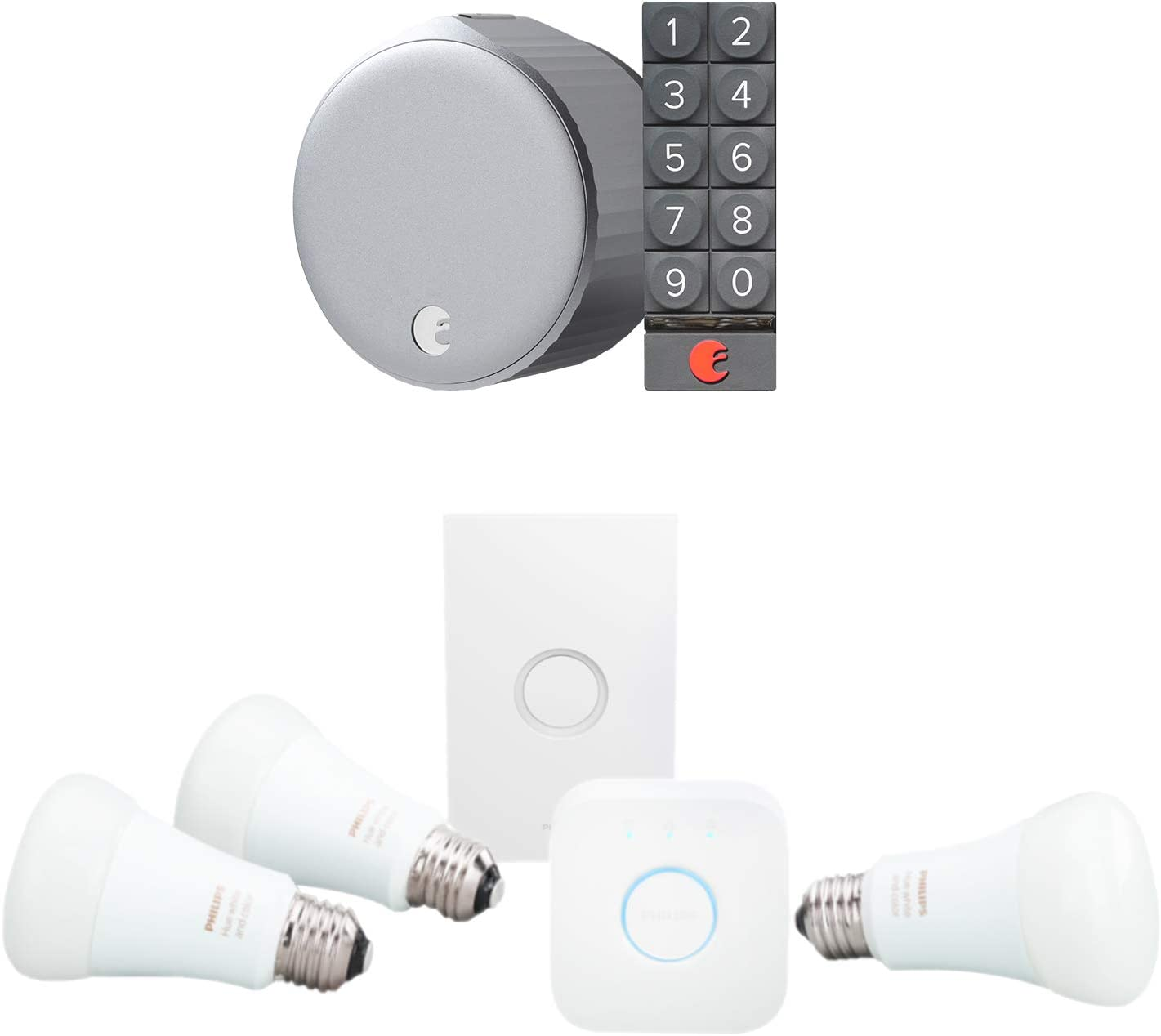 August Wi-Fi Smart Lock with Keypad and Philips Hue Color LED Smart Button Starter Kit