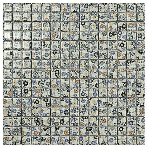 SomerTile WTCSPRFL Spring Floret Glazed Porcelain Mosaic Floor and Wall Tile, 12