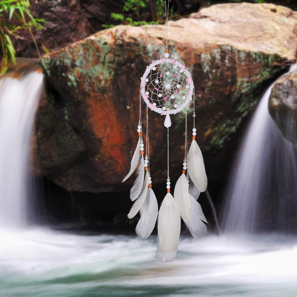 Tuscom White Handmade Feather Colorful Pearl Dream Catcher |for Car Wall Hanging Room Home Decor (11x53cm) (White) by Tuscom@ (Image #4)