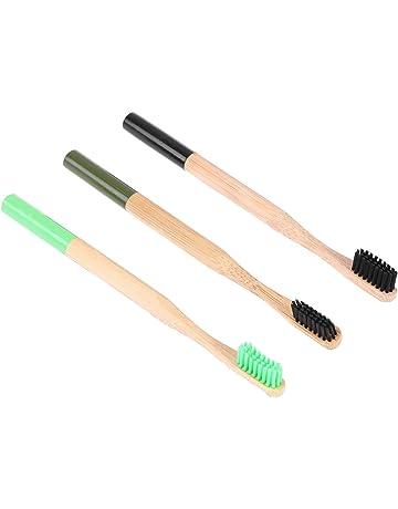 ROSENICE Set de Cepillos de Dientes de Bambú Suave Redondas para Blanquear los Dientes para Adultos