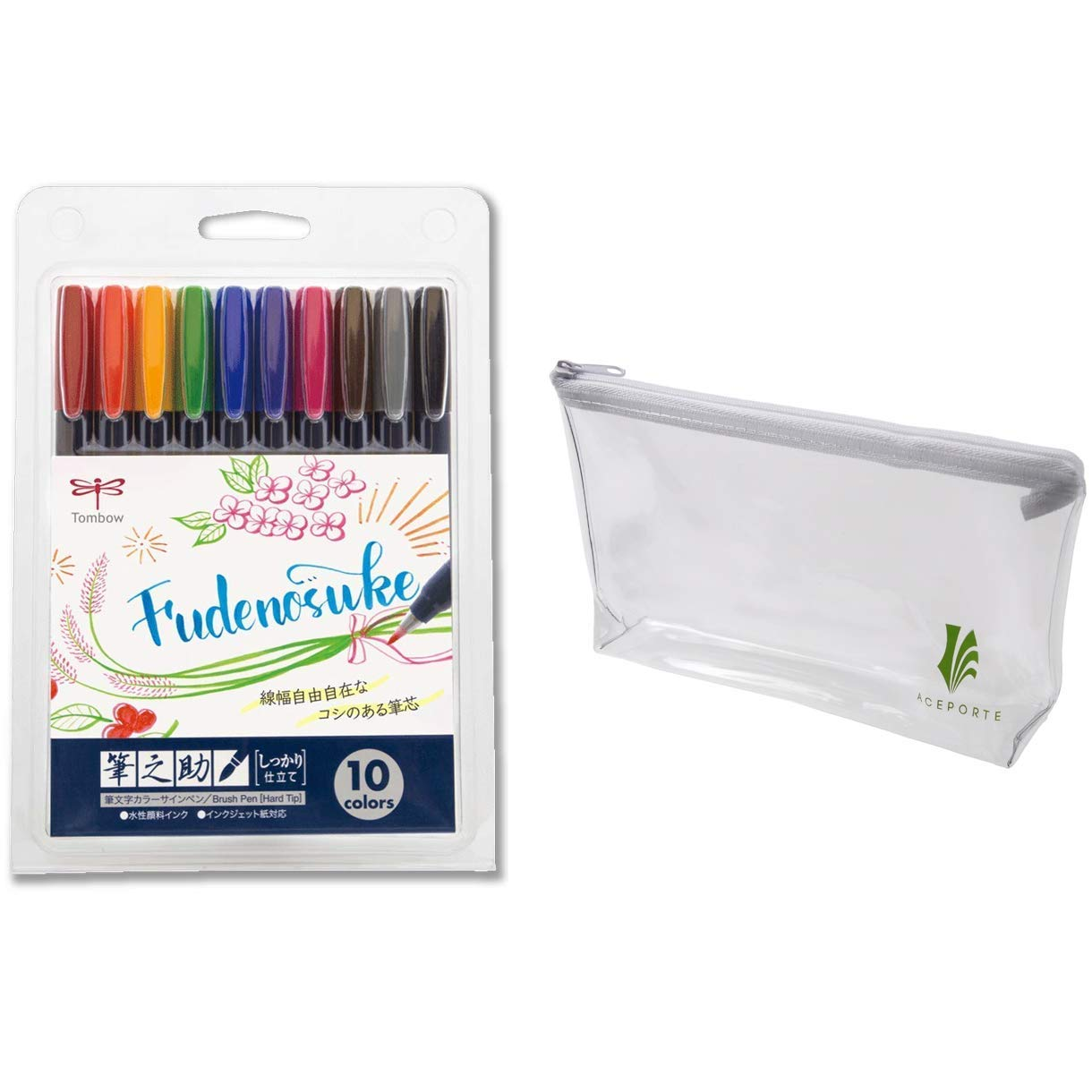 Tombow Fudenosuke Colors Set 10-Pack, WS-BH10C (Japanese Version) with Original Vinyl Pen case. Hard Tip Fudenosuke Brush Pens in Assorted Colors for Calligraphy and Art Drawings