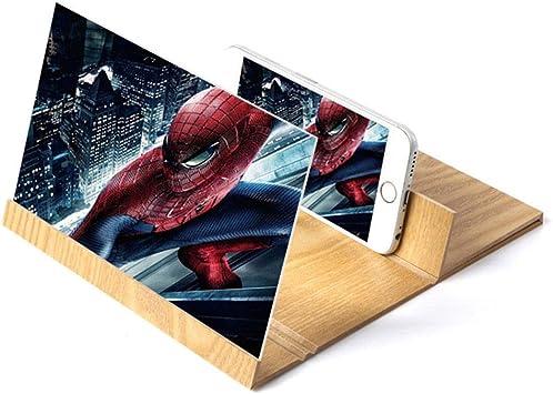 Home Holic - Lupa de Pantalla para Smartphone, 12 Pulgadas, Pantalla esterioscópica, Amplificador, Soporte de Madera Plegable, Soporte 3D HD, Soporte para Smartphone: Amazon.es: Electrónica