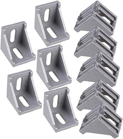 BQLZR 40x40mm Gris Aluminium L Forme Collier dangle de 90 degr/¨/¦s Joint dangle droit Attache pour /¨/¦crans de coffres Paquet de meubles de Windows de 10