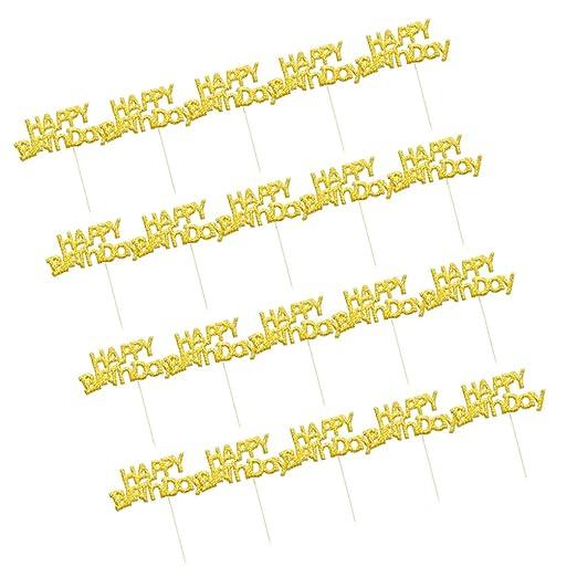 20x Glitter Feliz Cumpleaños Cartas Cupcake Sticks Fiesta De ...