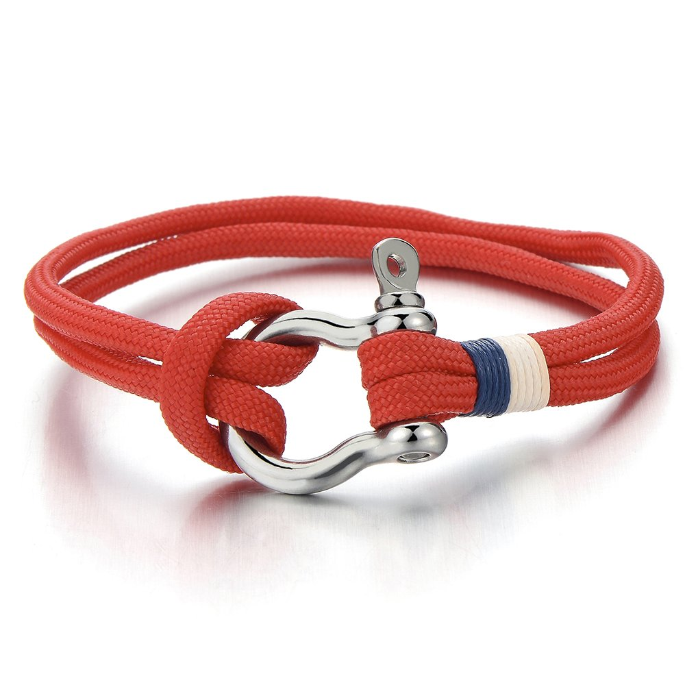 Mens Women Steel Screw Anchor Shackles Red Nautical Sailor Rope Cord Braided Wrap Bracelet Wristband COOLSTEELANDBEYOND MB-847-CA