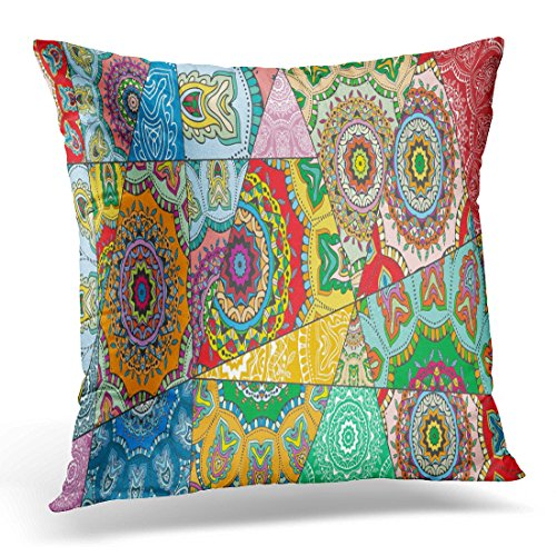 Breezat Throw Pillow Cover Patchwork Pattern Vintage Indian Arabic Turkish Motifs Abstract Colorful Doodle in Mosaic Style Decorative Pillow Case Home Decor Square 18x18 Inches (Batik Printed)