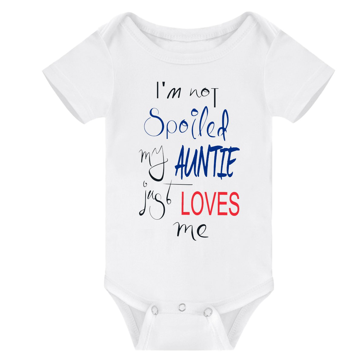Winzik Newborn Baby Boys Girls Bodysuit I'm Not Spoiled My Grandpa Auntie Just Loves Me Letters Print Baby Romper Clothes (6-12 Months, White-Auntie)