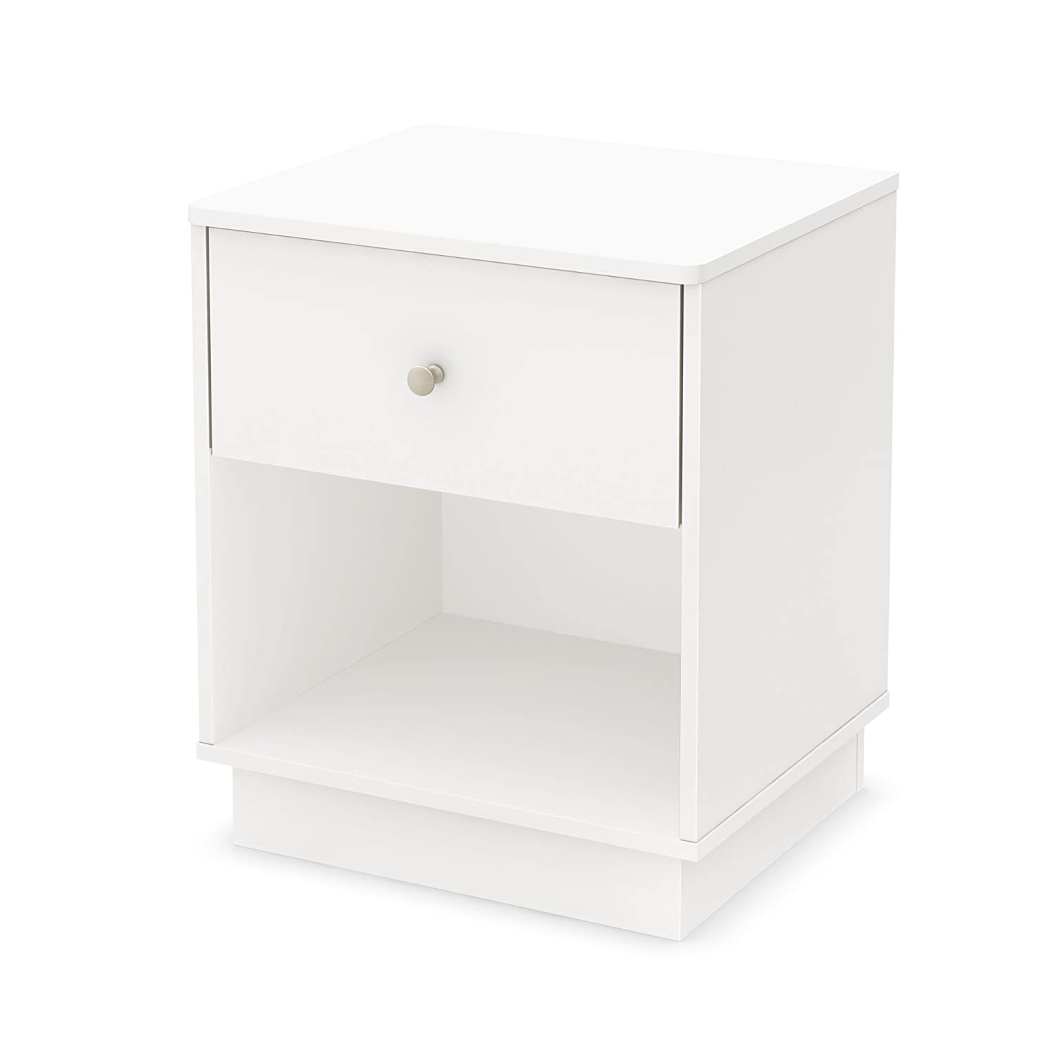 South Shore Furniture Litchi Night Stand, Pure White 9011062