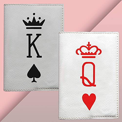 2a2e964c133 Amazon.com: King and Queen Passport cover eco-leather gray and black style  white and red fashion case for her for him couple covers: Handmade