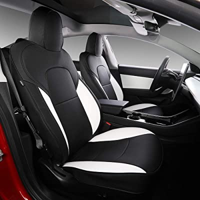 Model 3 Car Seat Cover PU Leather Cover All Season Protection 11pcs for Tesla Model 3 2020 2020 2020 2020 (White+Black): Automotive